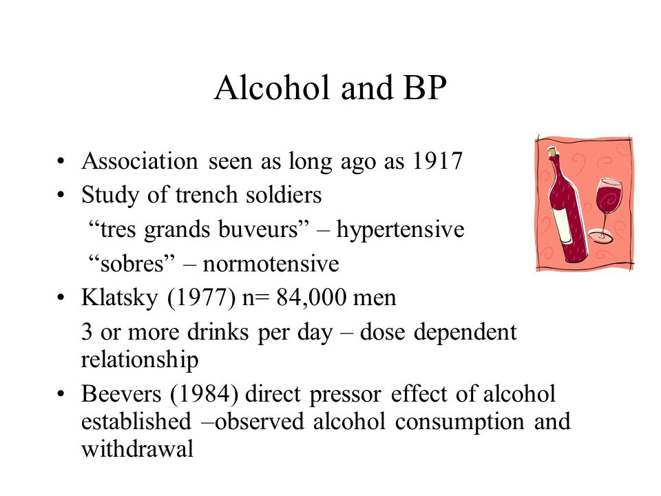 Alcohol and BP Association seen as long ago as 1917