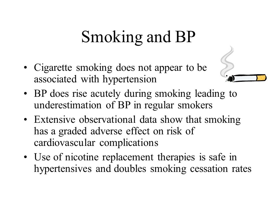 Smoking and BP Cigarette smoking does not appear to be associated with hypertension.