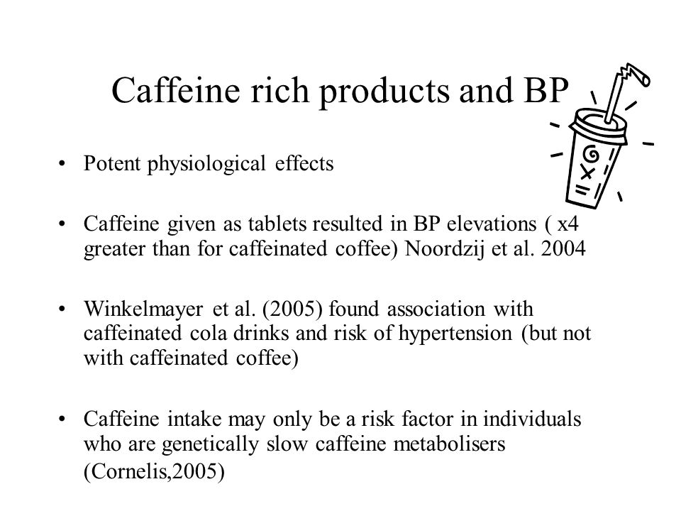Caffeine rich products and BP
