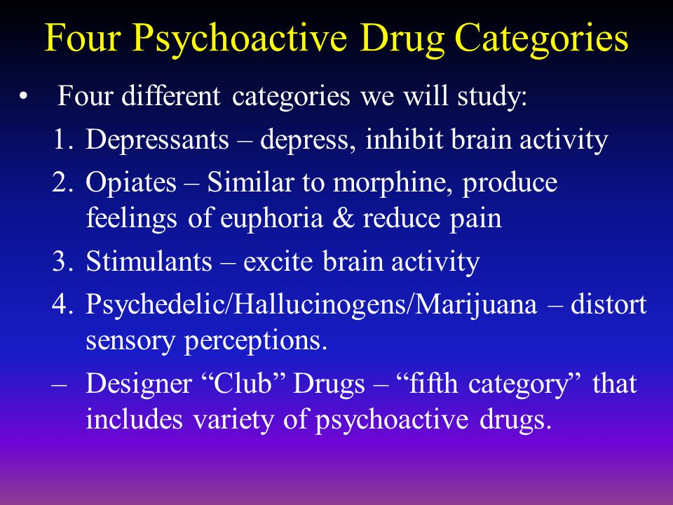 Four Psychoactive Drug Categories
