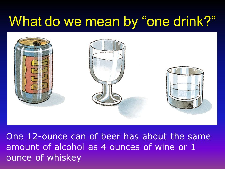 What do we mean by one drink
