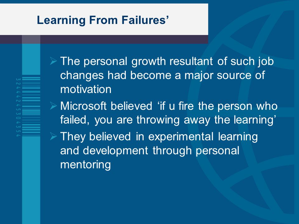 Learning From Failures'