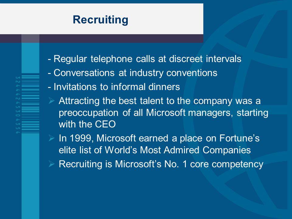 Recruiting - Regular telephone calls at discreet intervals