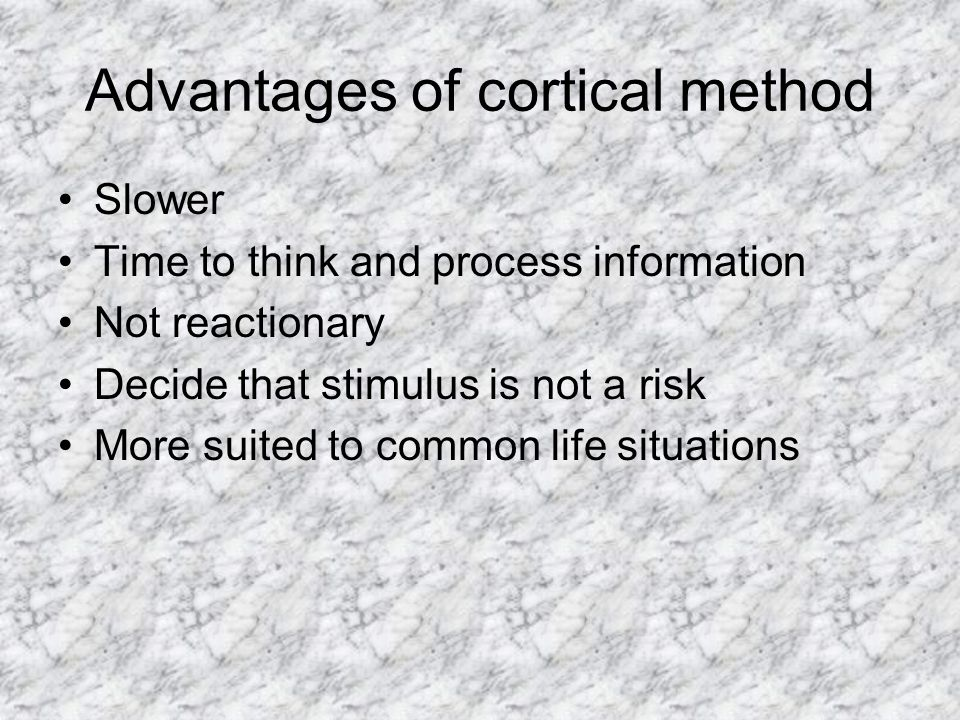 Advantages of cortical method