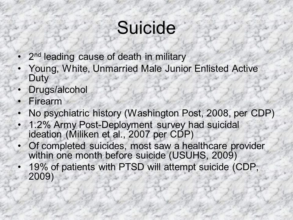 Suicide 2nd leading cause of death in military