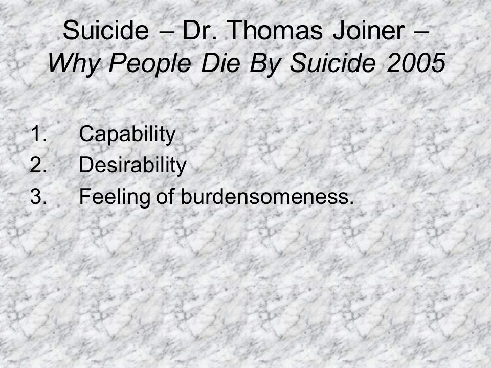 Suicide – Dr. Thomas Joiner – Why People Die By Suicide 2005