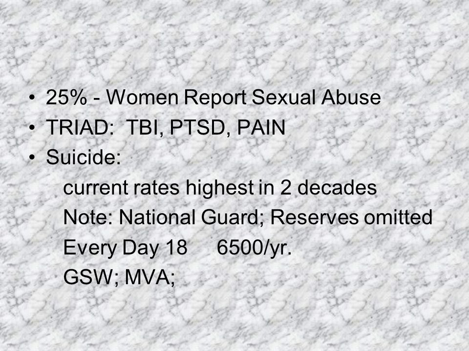 25% - Women Report Sexual Abuse