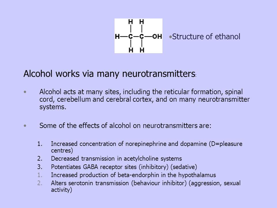 Alcohol works via many neurotransmitters: