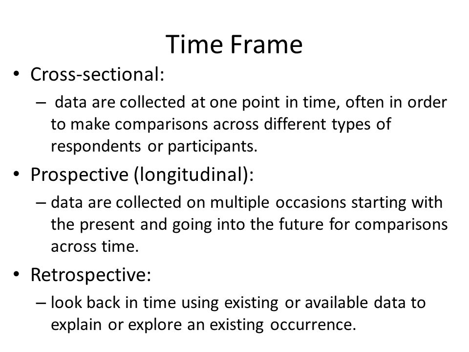 Time Frame Cross-sectional: Prospective (longitudinal): Retrospective: