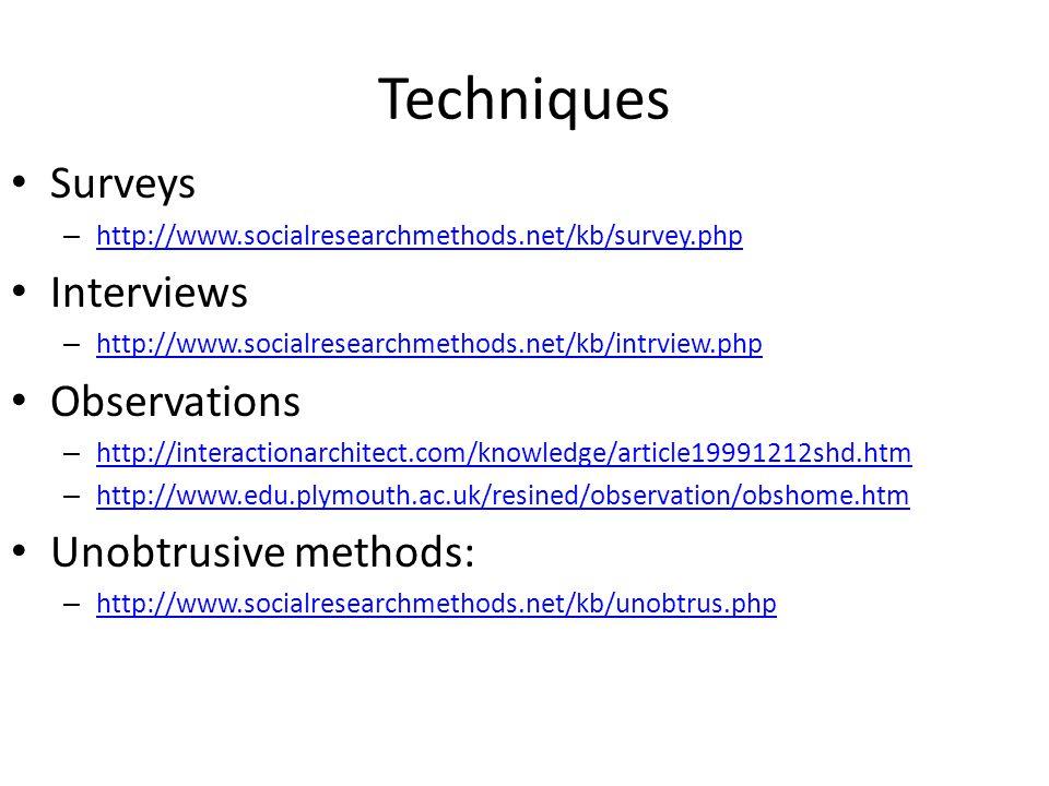 Techniques Surveys Interviews Observations Unobtrusive methods: