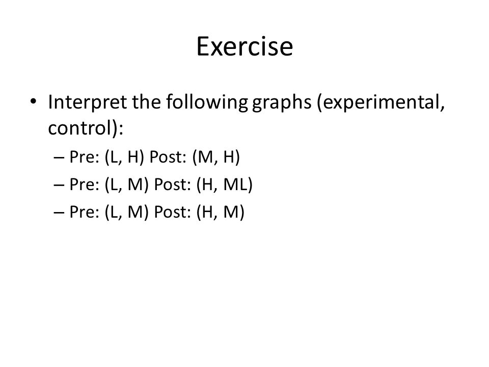 Exercise Interpret the following graphs (experimental, control):