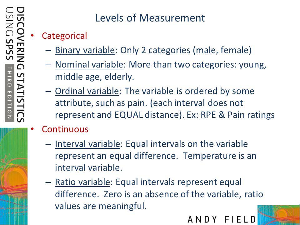 Levels of Measurement Categorical