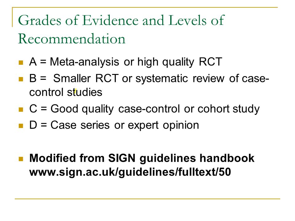 Grades of Evidence and Levels of Recommendation