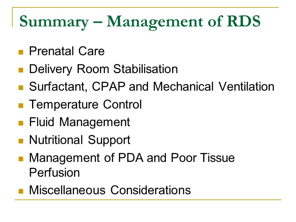 Summary – Management of RDS