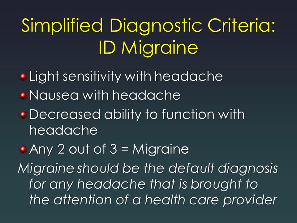 Simplified Diagnostic Criteria: ID Migraine