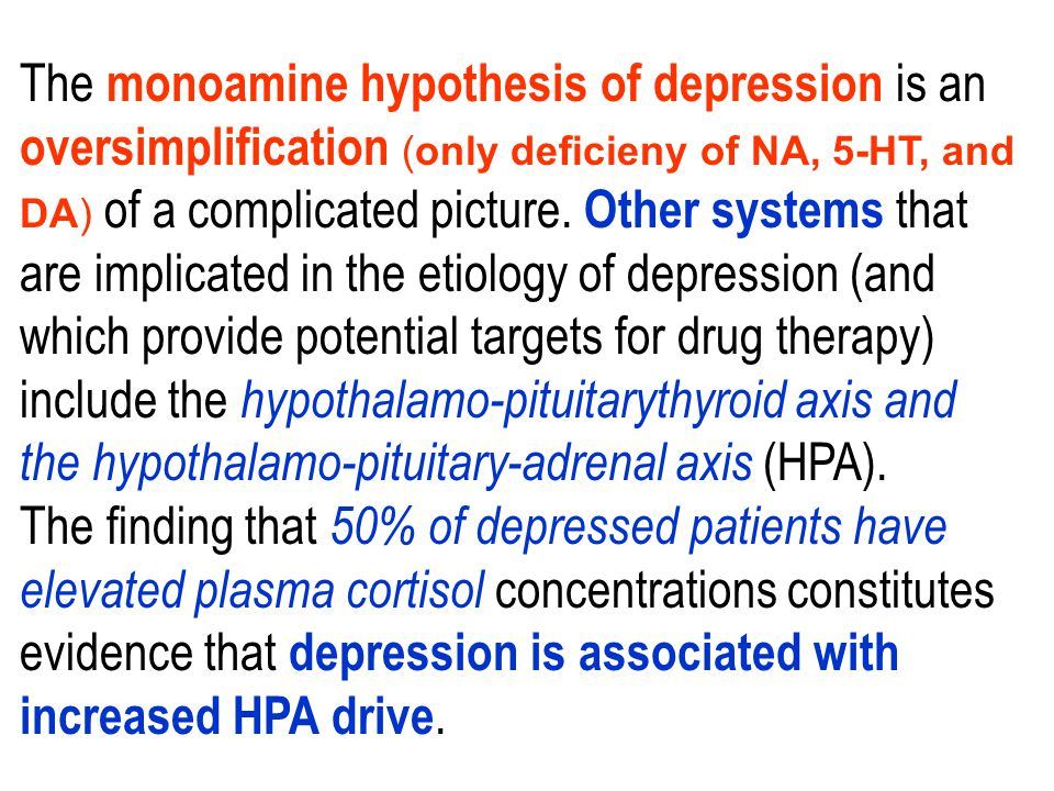 The monoamine hypothesis of depression is an