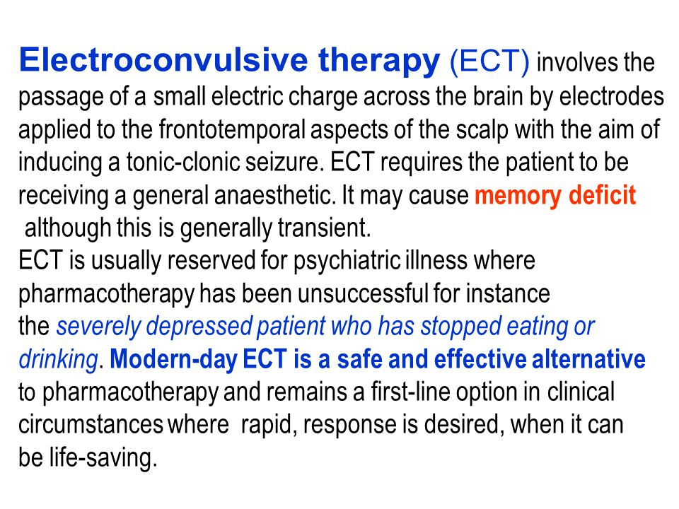 Electroconvulsive therapy (ECT) involves the