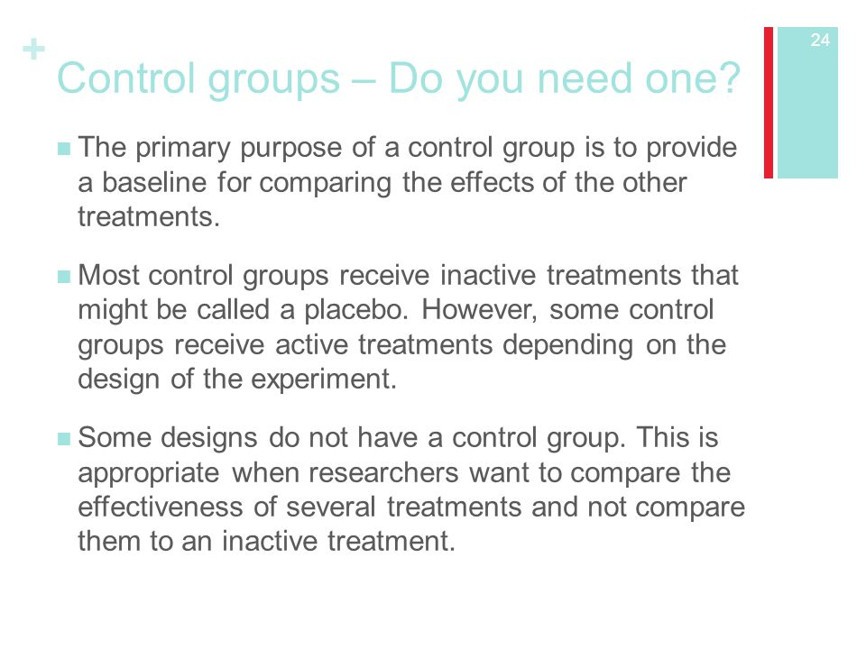 Control groups – Do you need one