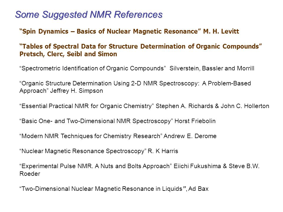 Some Suggested NMR References