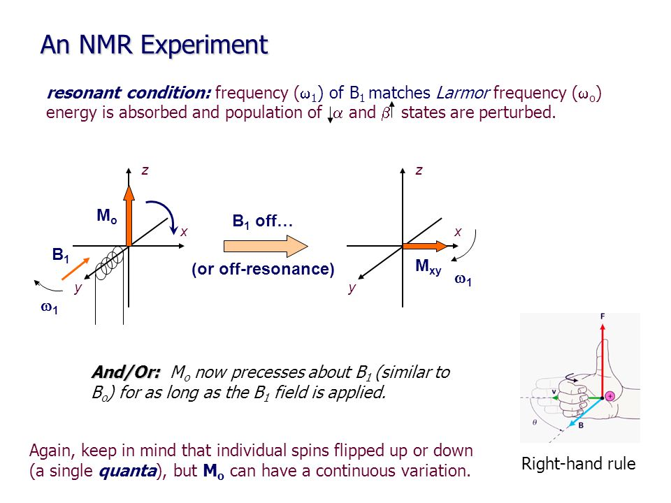 An NMR Experiment resonant condition: frequency (w1) of B1 matches Larmor frequency (wo)