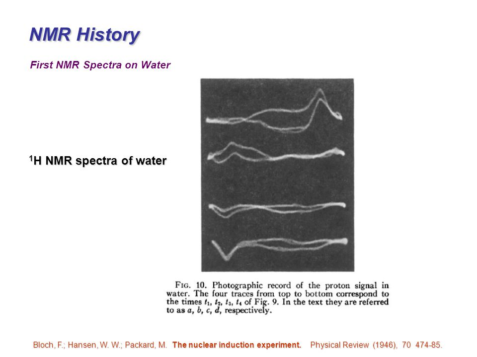NMR History 1H NMR spectra of water First NMR Spectra on Water