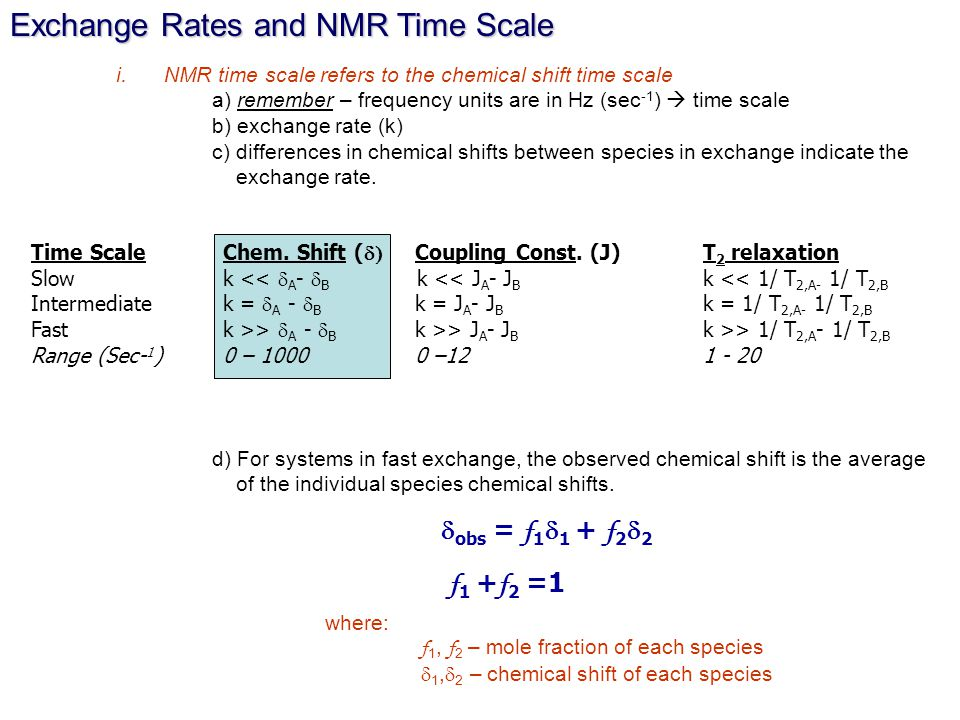 Exchange Rates and NMR Time Scale