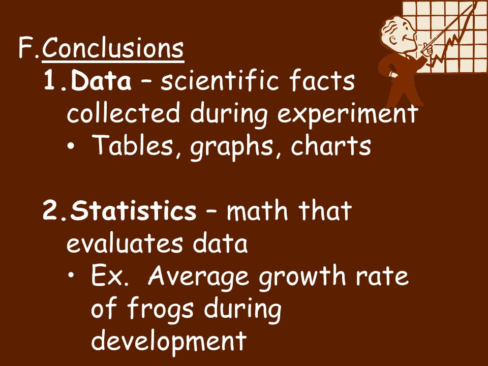 Conclusions Data – scientific facts collected during experiment. Tables, graphs, charts. Statistics – math that evaluates data.