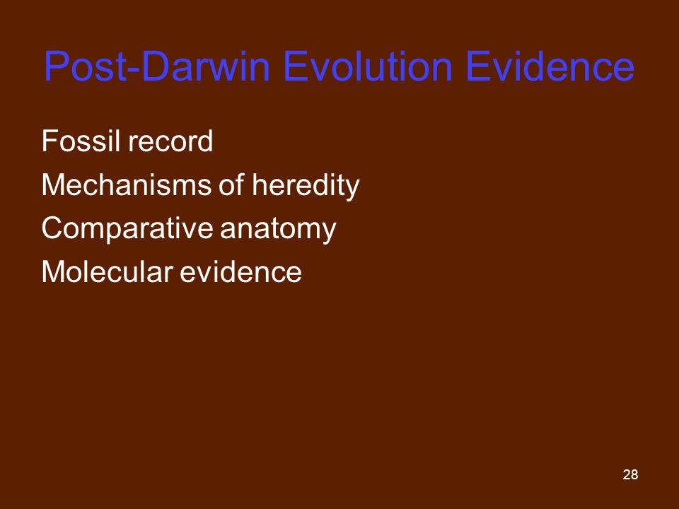 Post-Darwin Evolution Evidence