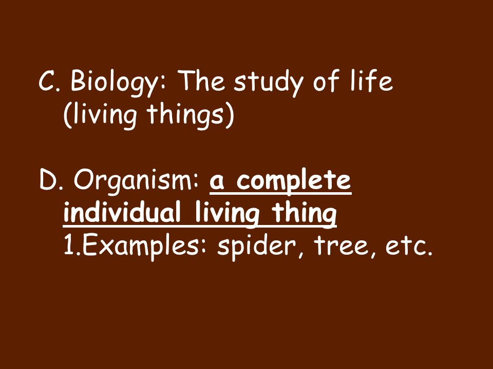 C. Biology: The study of life (living things)