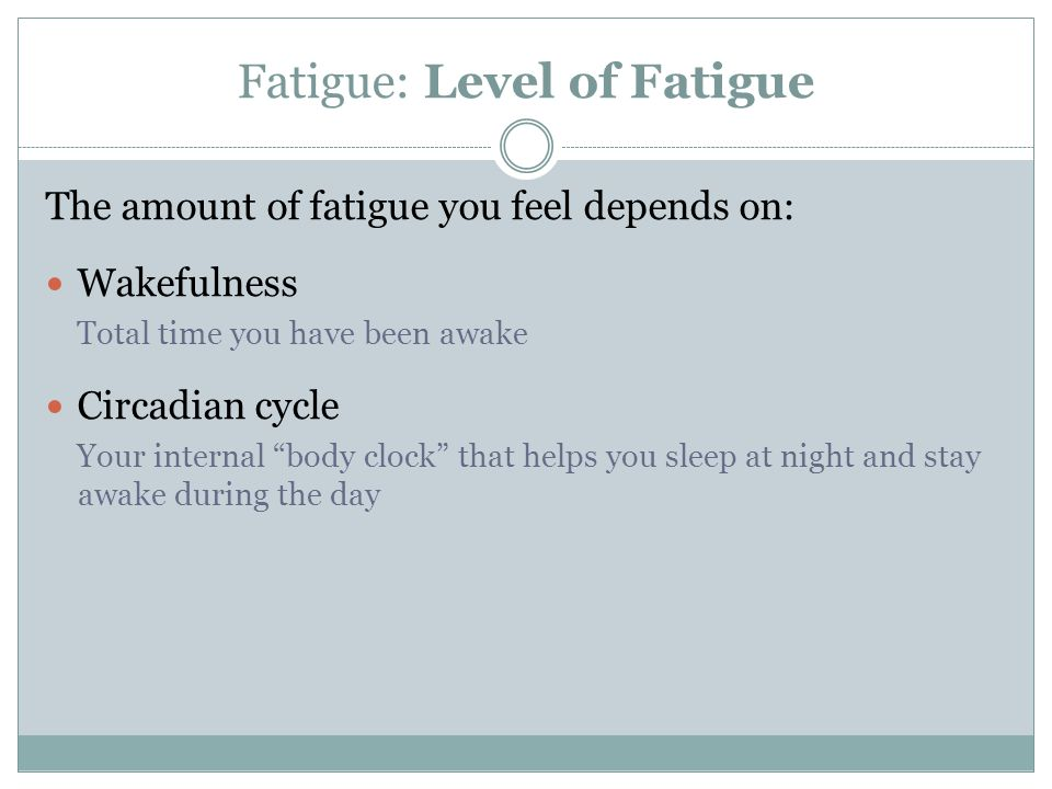 Fatigue: Level of Fatigue