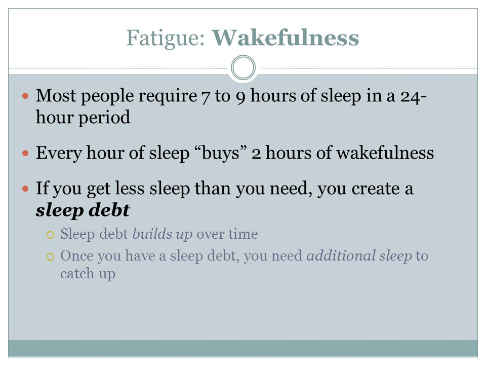 Fatigue: Wakefulness Most people require 7 to 9 hours of sleep in a 24- hour period. Every hour of sleep buys 2 hours of wakefulness.