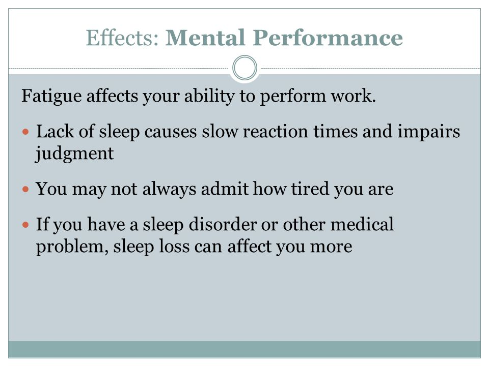 Effects: Mental Performance