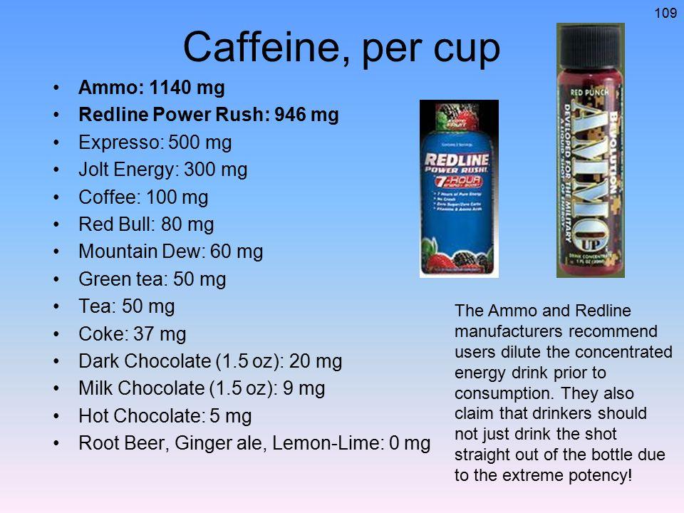 Caffeine, per cup Ammo: 1140 mg Redline Power Rush: 946 mg