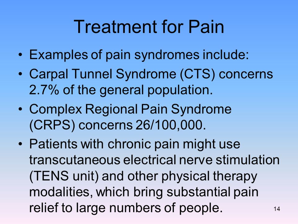 Treatment for Pain Examples of pain syndromes include: