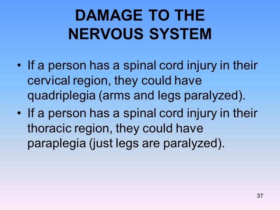 DAMAGE TO THE NERVOUS SYSTEM