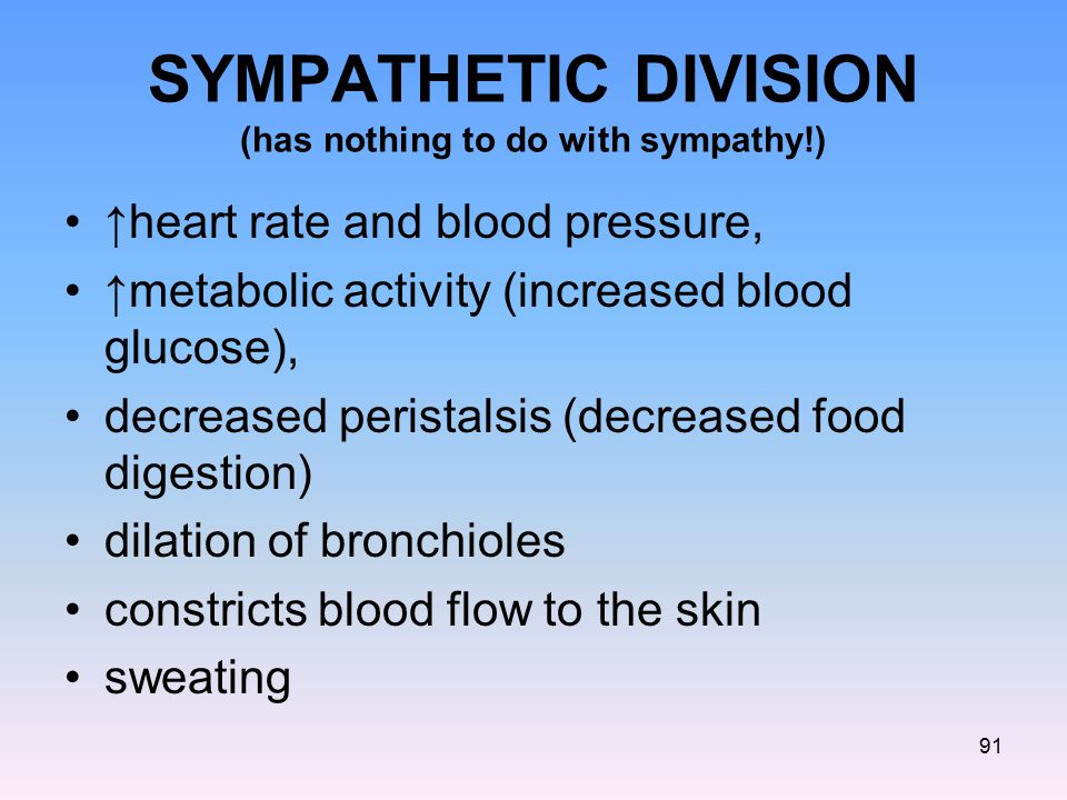 SYMPATHETIC DIVISION (has nothing to do with sympathy!)