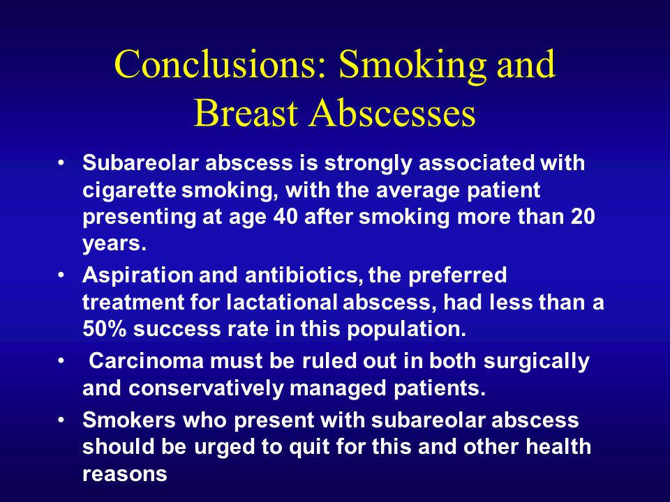 Conclusions: Smoking and Breast Abscesses
