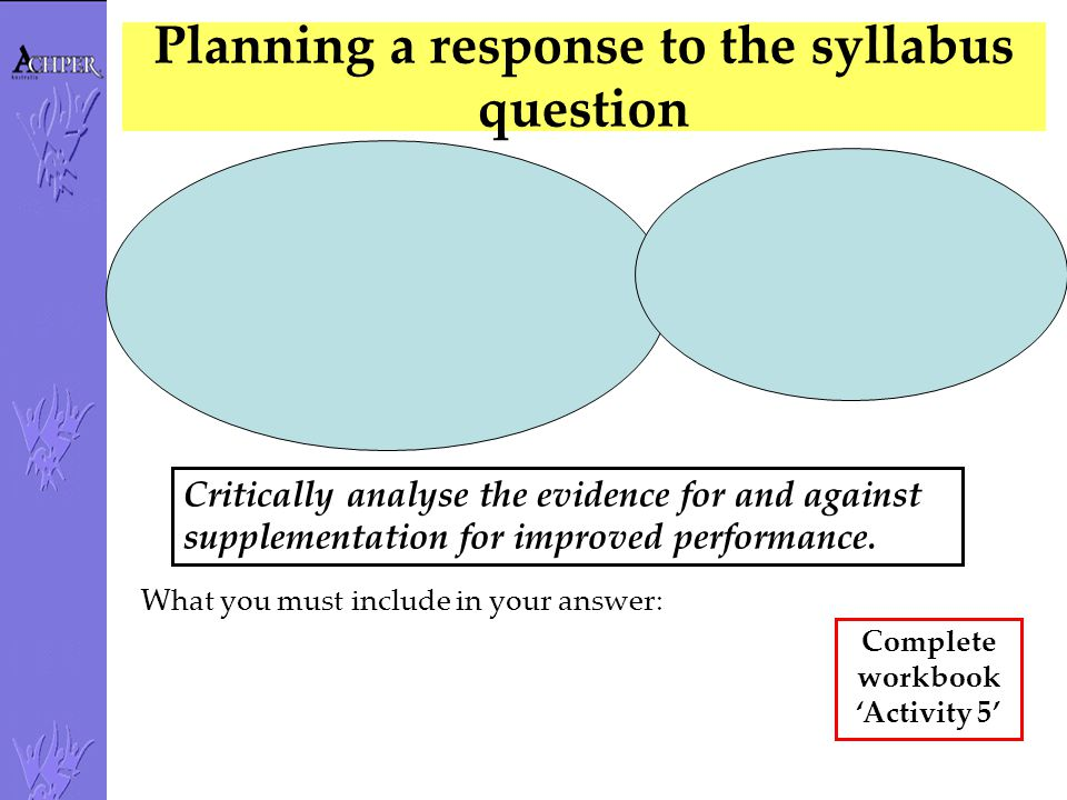 Planning a response to the syllabus question
