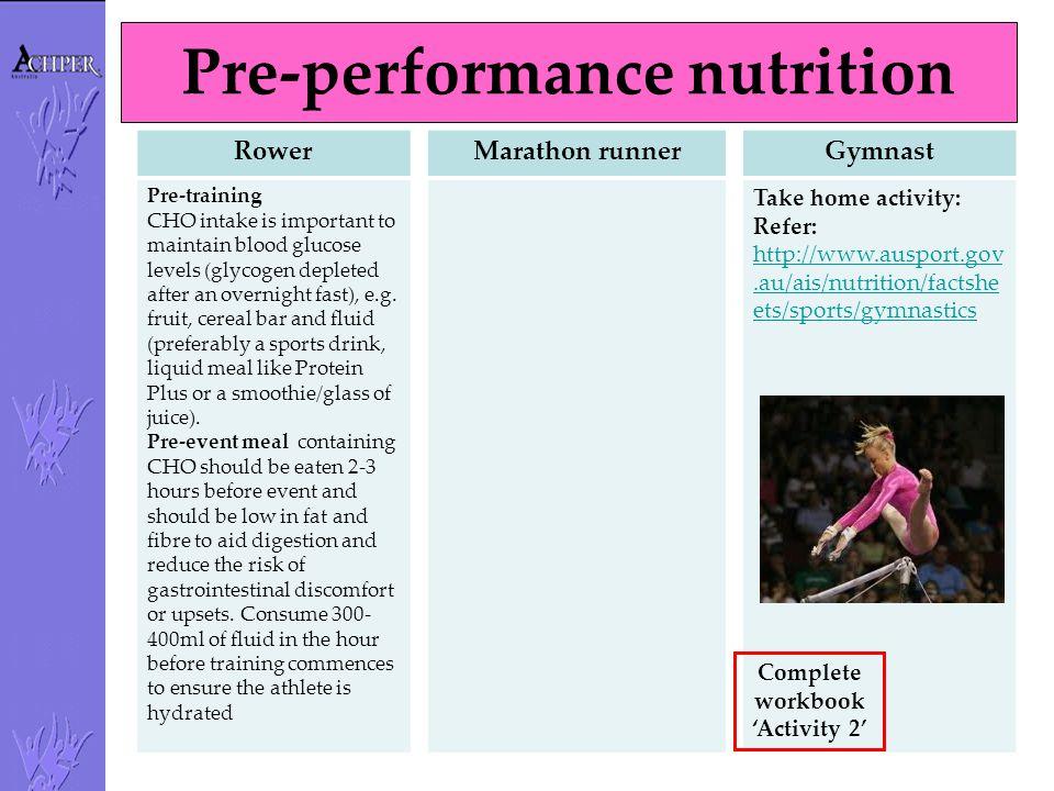 Pre-performance nutrition