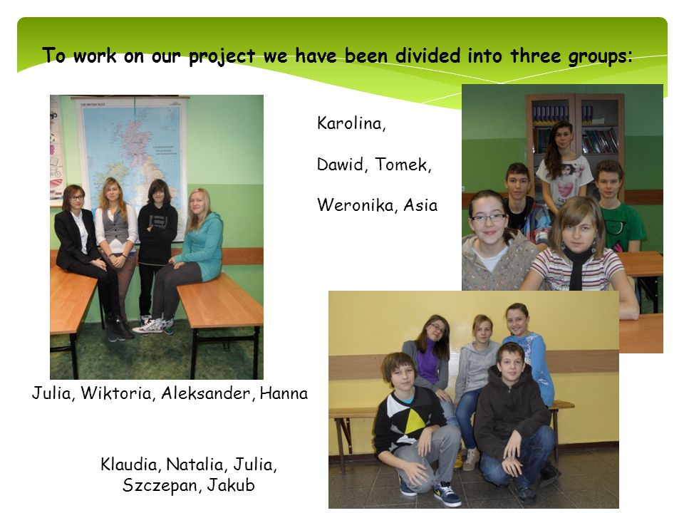 To work on our project we have been divided into three groups: