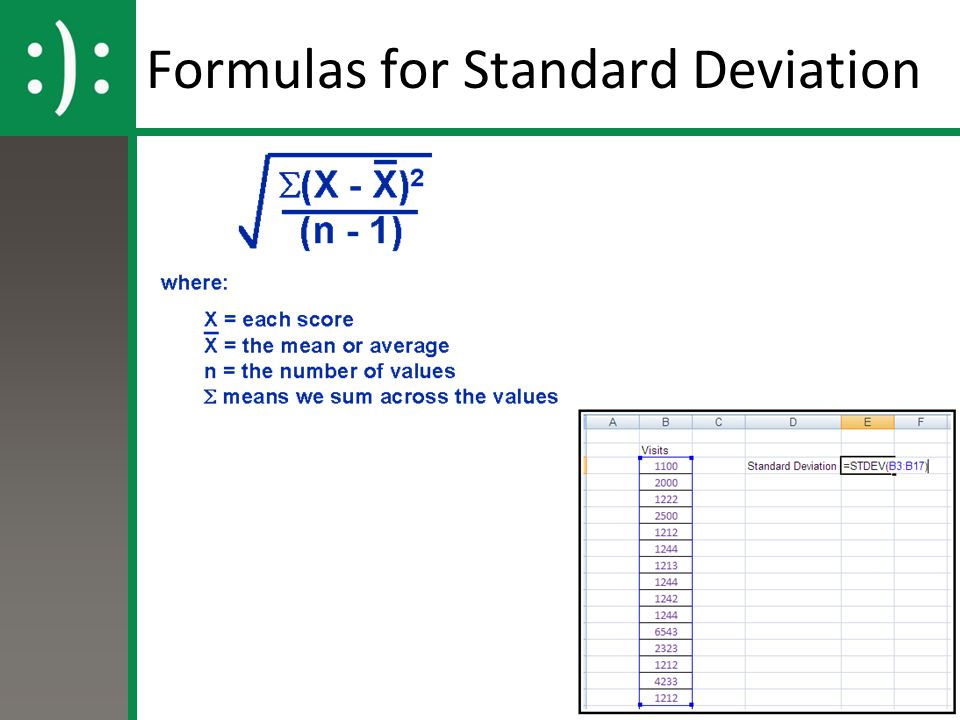 Formulas for Standard Deviation