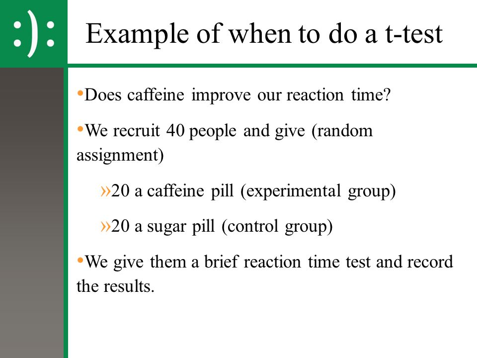 Example of when to do a t-test