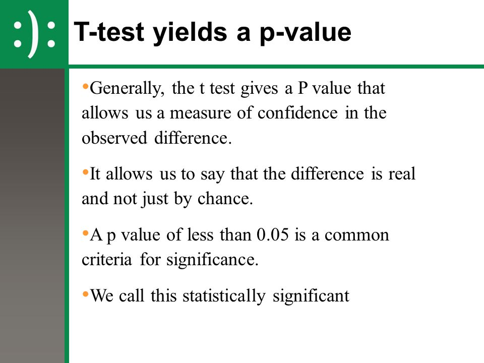 T-test yields a p-value