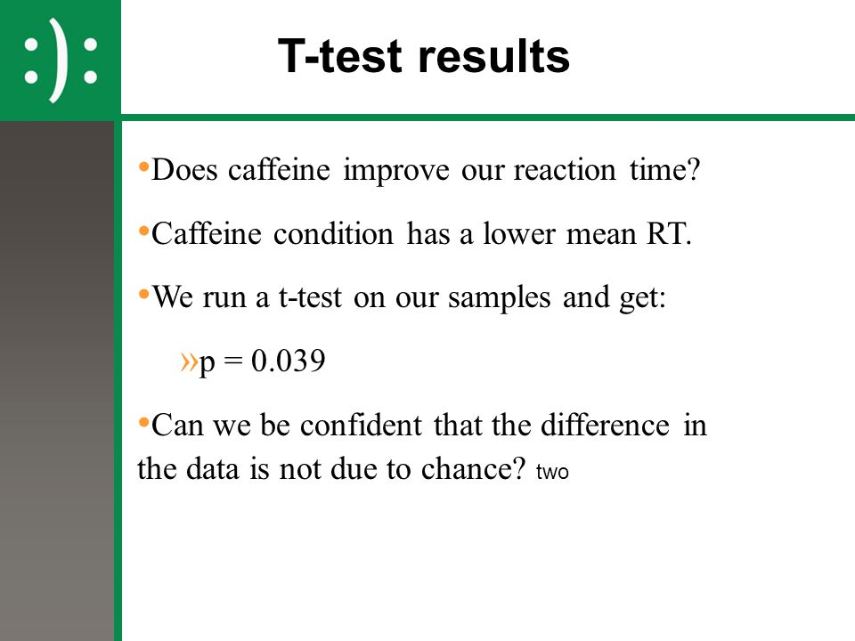 T-test results Does caffeine improve our reaction time