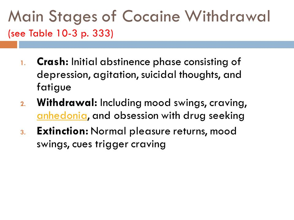 Main Stages of Cocaine Withdrawal (see Table 10-3 p. 333)
