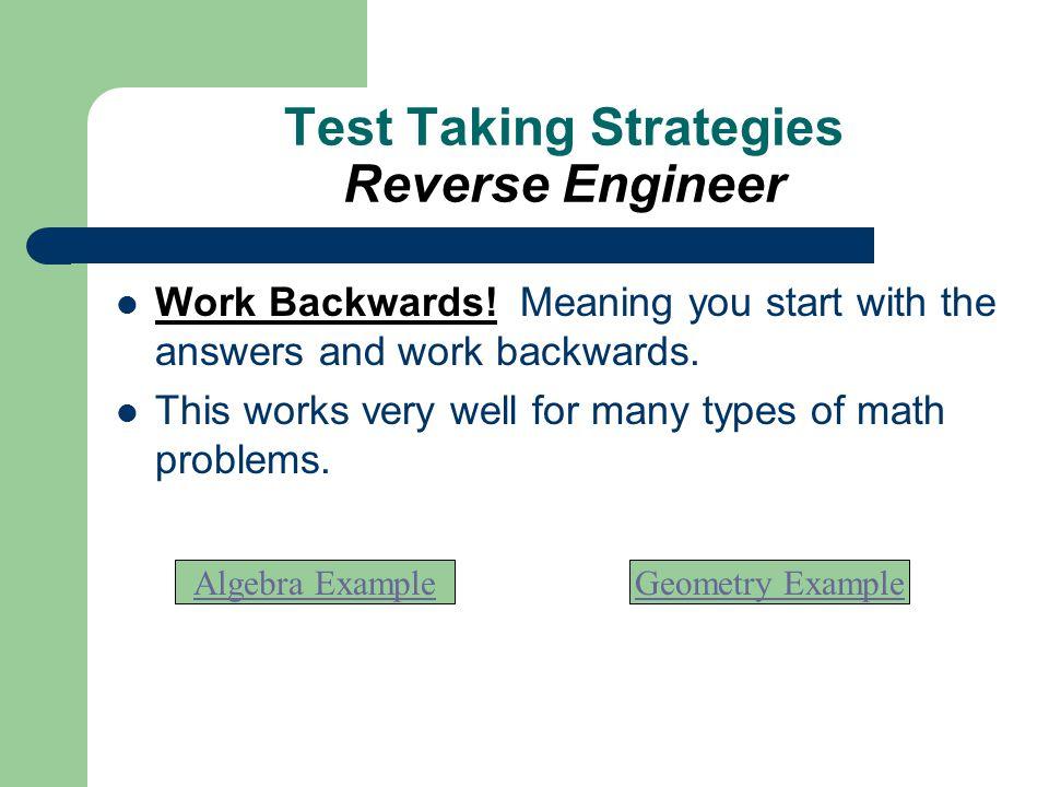 Test Taking Strategies Reverse Engineer