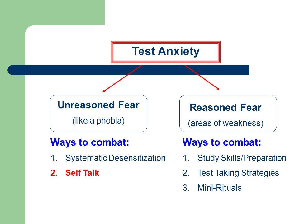 Test Anxiety Unreasoned Fear Ways to combat: Reasoned Fear