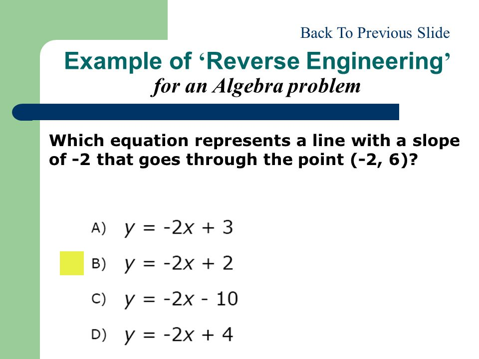 Example of 'Reverse Engineering' for an Algebra problem