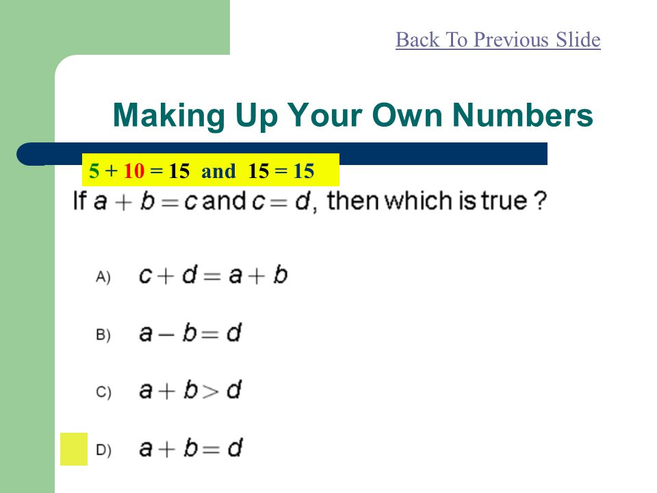 Making Up Your Own Numbers