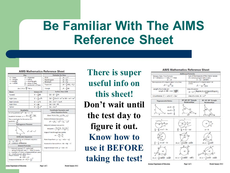 Be Familiar With The AIMS Reference Sheet